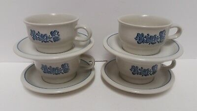Pfaltzgraff Yorktowne Tea Coffee Soup Mugs Cups with Saucers Set of 4