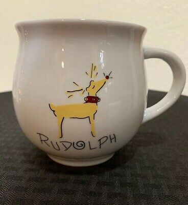 Pottery Barn Reindeer Coffee / Tea Cups / Mugs Rudolph Xmas Retired  Rare! MINT!