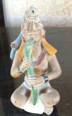 Vintage Precolumbian Style, Mayan Terra-cotta Male Figure Seated With Snake
