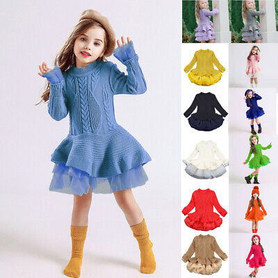 Toddler Baby Kids Dress Girls Solid Tulle Sweater Knit Crochet Princess Dresses