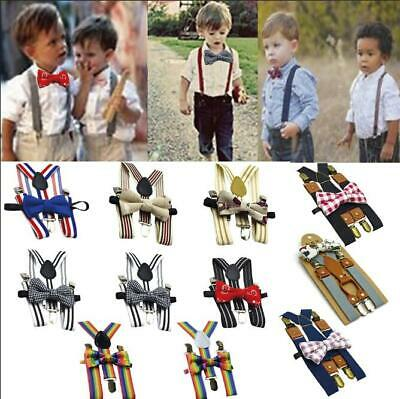 Kids Toddler Girls Boys Rainbow Multicolor&Solid Braces Suspenders Bow Tie Sets