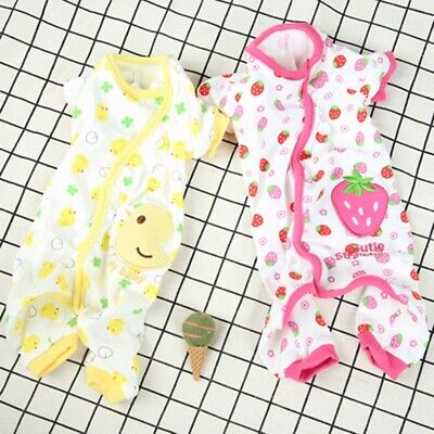 Strawberry Duck Dog Embroidery Cat Dog Pajamas Cotton Printed Soft Jumpsuit