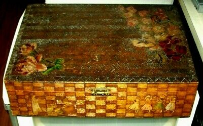 1880-1915 Victorian Folk Art Crafts Hand-Made/Painted Pyrography Decor Wood Box
