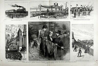 Illinois Chicago President Cleveland, Huge Double-Folio 1880s Antique Print