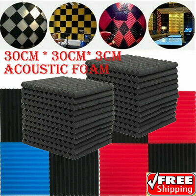 6/12/24PCS Sound Proofing Acoustic Wedge Foam Tiles Studio Home Wall Panels UK