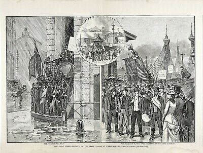 Pennsylvania Alleghany Iron Steel Workers Union Strike Large 1880s Antique Print