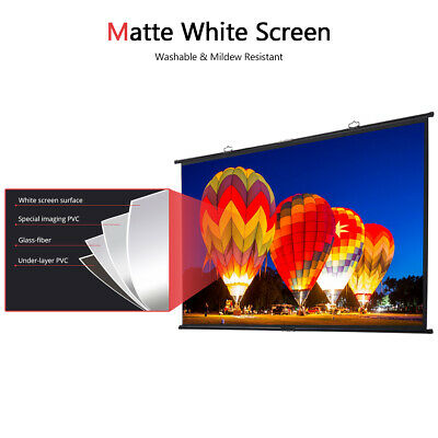 3D HD Wall Mounted Projection Screen 3D 4K LED Projector for Home Theater 16:9