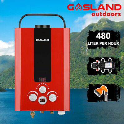 GASLAND Portable Gas Hot Water Heater LPG Outdoor Camping Pump Shower Stand 4WD