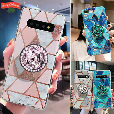 Geometric Marble Case For Samsung Galaxy A40 A50 A70 With Stand Holder Socket UK