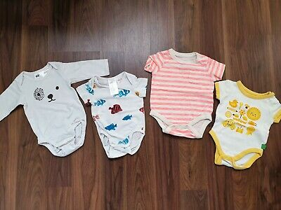 H&M Gap Babybird Set Of 4 Bodysuits Bodyvests Playsuits For Girl 0-3 Months