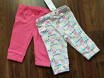 Bnwt F&F Baby Set Of 2 Joggers Trousers For Girl 3-6 Months 68Cm 8Kg