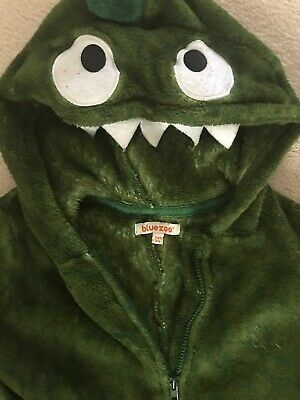Debenhams Bluezoo One Piece Dragon Pajamas Green With Character Hood Size 3-4