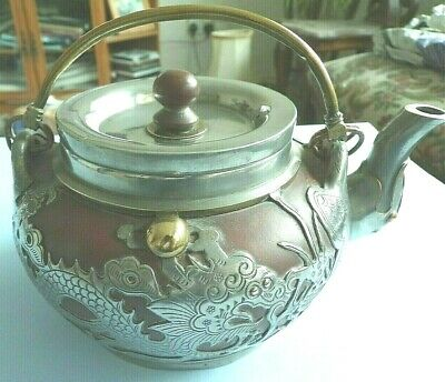 Chinese Vintage Yixing Terracotta  And Pewter Teapot,  17Cm Long.