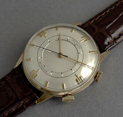 JAEGER LECOULTRE 14K SOLID GOLD Memovox Wrist Alarm Watch 1954