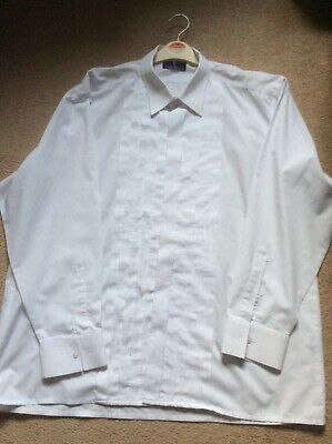 Mens white pleated dress shirt size 17.5. collar by Rael Brook
