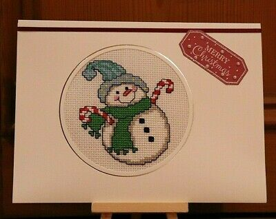 "Handmade Completed Cross Stitch Christmas Card Snowman 8""x6"""
