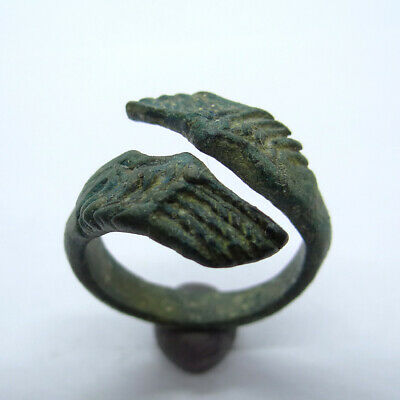 Roman Ancient Artifact Bronze Ring With Two Eagle Wings