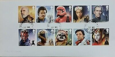 GB 2019 Commemorative Set of very fine used Star Wars III stamps on envelope