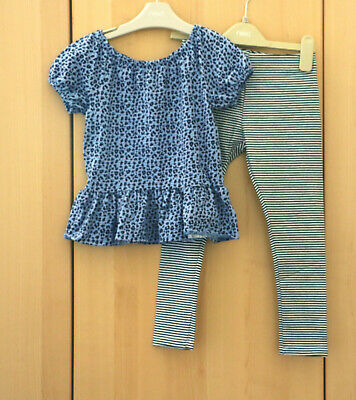 Next Girls Blue Animal Print Textured Top & Stripe Leggings Age 5 Years BNWT