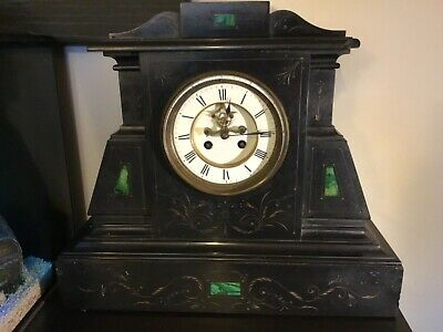 Antique vintage large heavy slate mantle clock with working pendulum and chime