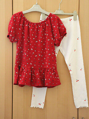 NEXT Girls Red Ditsy Peplum Top & White Cherry Print Leggings Age 10 Years BNWT