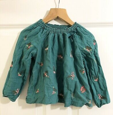Girls Next Green Floral Long Sleeve Top Blouse Age 2-3years