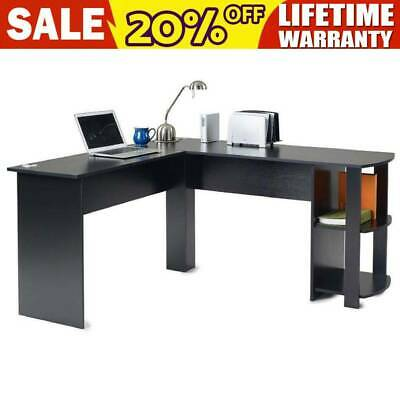 Computer Desk L-Shaped Study Gaming Table W/ Shelves Home Office Workstation