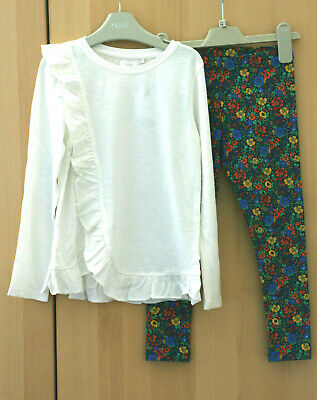 Next Girls Ecru Ruffle Top & Floral Leggings Age 6 Years  BNWT