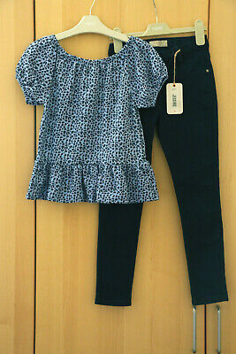 Next Girls Blue Animal Print Textured Top & Ink Blue Jeggings Age 8 Years BNWT
