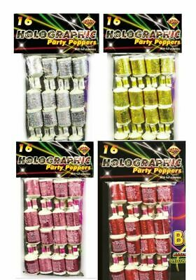 HENBRANDT Holographic Coloured Party Poppers Pack of 20
