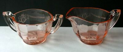 Pink Glass Optic Sugar Bowl and Creamer Etched Wreath Pattern Cream Pitcher