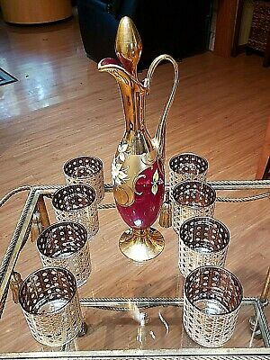 "Vtg Bohemian Czech Ruby Red Glass Enamel and Gold Decanter 17"" Set of 8 Glasses"
