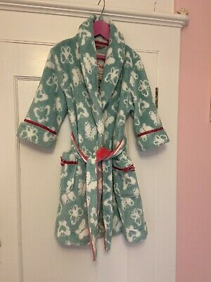 VGC Monsoon Dressing Gown Size 2-4 Butterfly Girl Green & Pink