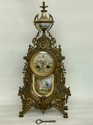 French Early 1900s Bronze and Porcelain Cameo Mantel Clock 1791B