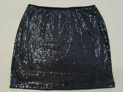 Skirt L Navy Blue Shiny Metallic Sequin Micro-Mini Cocktail Night Out