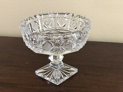 """Vintage Cut Crystal Glass Pedestal Nut Candy Dish Bowl w 8 Pointed Stars 4-1/2"""""""