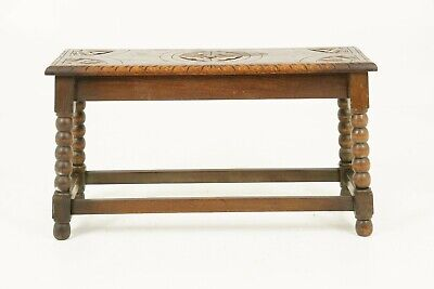 Carved Oak Bench, Oak Stool, Table, Scotland 1910, Antique Furniture, B1779