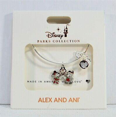 Disney Alex & Ani 2019 Silver Bangle Bracelet Mickey Minnie Christmas Candy Cane