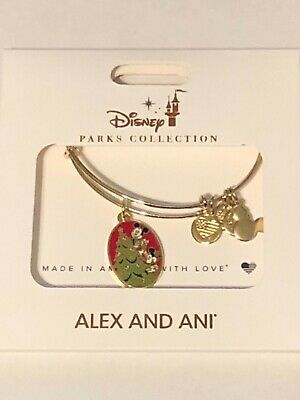 Disney Alex & Ani 2019 Gold Bangle Bracelet Mickey & Minnie Christmas Party NEW