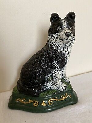 Vintage Cast Iron Hand Painted Border Collie Dog Stop / Stopper