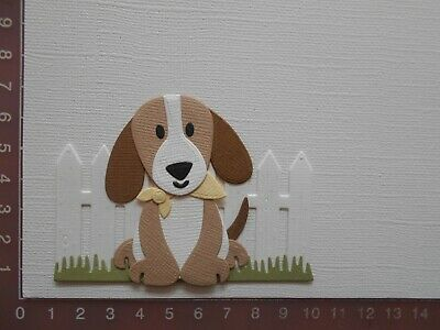 Card Making Die cuts - Dog / Puppy Assembled Fence Grass  Lot 4