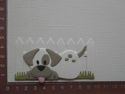 Card Making Die cuts - Dog / Puppy Assembled Fence Grass  Lot 6
