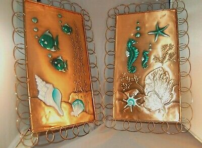 Vintage Sea Scape Seahorse Sea Shells Enameled Copper Wall Hangings California