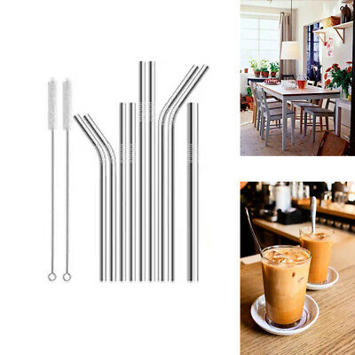 100x Stainless Steel Metal Drinking Straw Straws Bent Reusable Washable Brush GB