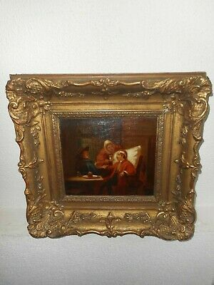 Antique oil painting,{ Jean - Baptiste Madou, 1796 - 1877, Doctors visit }.