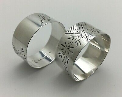 Fine Antique Pair Bright Cut Engraved Sterling Silver Napkin Rings Deer Mark