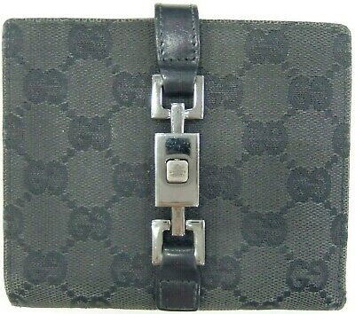 *Authentic GUCCI GG canvas Jackie Bifold double sided Compact Wallet Black Italy