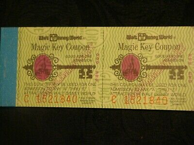 Disneyworld Complete Magic Key Ticket Book With All 5 Original Tickets C1521840