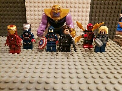 Marvel Avengers Minifigures Iron Man Thanos War Machine Bucky fit lego Lot 36