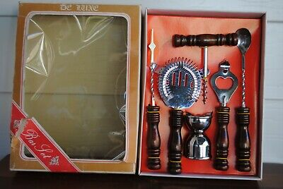 VINTAGE DE LUXE BOXED BAR SET 6 pieces UNUSED MADE IN TAIWAN STAINLESS STEEL